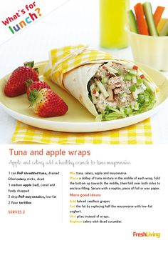 Crunchy tuna and apple wraps - a healthy take on traditional tuna mayo sarmies. Lunch Recipes, Healthy Recipes, Weight Watchers Snacks, Clean Eating, Healthy Eating, South African Recipes, Tuna Mayo, Wrap Sandwiches, Food Hacks