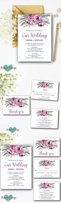 Bohemian Wedding Invitation Suite - Boho Wedding Invitation Set - Boho Wedding Invites - Printable Wedding Invitations Kits by Ilona's Design on Etsy I @ilonaspassion