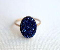 Midnight Blue Drusy Ring