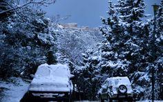 Πυκνό χιόνι κάλυπτε το πρωί της Τρίτης 10-1-2017 αυτοκίνητα, δρόμους και δέντρα. Και βέβαια τον Ιερό Βράχο