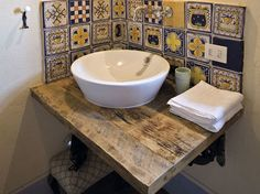 We like the bowl sink and wood counter Tuscan Bathroom, Rustic Bathrooms, Bathroom Basin, Downstairs Bathroom, Casa Milano, Minimal Kitchen, Wood Counter, Wet Rooms, Bathroom Inspiration