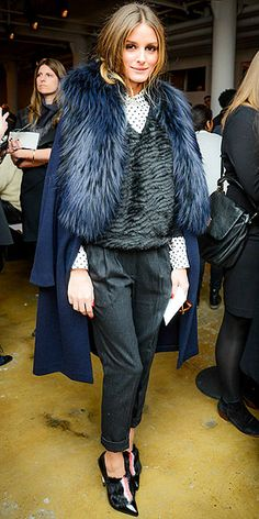 Stars RSVP Yes to Fashion Week | OLIVIA PALERMO | The unofficial mascot of New York Fashion Week pops up in the front row of the Peter Som show, making the rest of us feel bad about our Polar Vortex apparel by sporting a fur topper and pointy-toe booties.