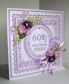 Birthday Card using dies from Creative Expressions / Sue Wilson… 60th Birthday Cards For Ladies, Birthday Presents For Mom, Homemade Birthday Cards, Happy Birthday Cards, 21 Birthday, Pinterest Birthday Cards, Pinterest Cards, Purple Cards, Fru Fru