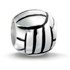 925 Sterling Silver Volley Ball Sports Bead Pandora Compatible ($15) ❤ liked on Polyvore featuring jewelry, pendants, bundle & save, heart charm, sport charms, birthday charms, sterling silver heart charm and sterling silver animal charms