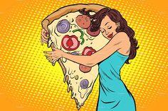 Buy Woman Hugging a Pizza by rogistok on GraphicRiver. woman hugging a pizza. Retro Vector, Vector Art, Pizza Kunst, Desenho Pop Art, Pizza Art, Diabetic Dog, Drawing Reference Poses, Canvas Prints, Art Prints