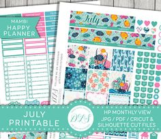 HAPPY PLANNER July Stickers July Monthly Kit Mambi Stickers