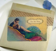 Wedding Invitations or Art Deco Save the Dates Garbo by GoGoSnap, $85.00