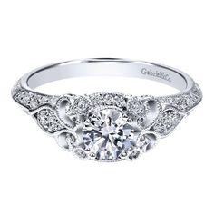 14K White Gold .76cttw Ornate Vintage Style Round Diamond Engagement Ring with Bead Set Diamonds
