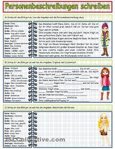 Personenbeschreibung schreiben_1 Arbeitsblatt - Kostenlose DAF Arbeitsblätter #Language #Travel  Re-pinned by www.avacationrental4me.com
