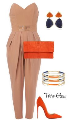 """Awesome Orange"" by terra-glam ❤ liked on Polyvore featuring Elisabetta Franchi, Primary, Christian Louboutin, Vianna B.R.A.S.I.L and Aurélie Bidermann"