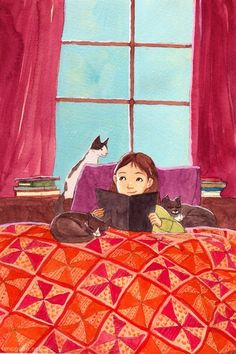 Between books and cats / Entre libros y gatos (ilustración de Erin McGuire)