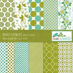 Set of 11 (eleven) digital papers in green, aqua, white and yellow, beautifully textured!