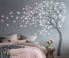 Bending tree in the wind with birds and loose leaves wall decal dark grey tree nursery wall sticker pink wall mural wand ideen Albero della foresta del gufo con foglie e birdhouse parete decal grigio albero grigio vivaio parete parete adesivo parete Bird Wall Decals, Nursery Wall Stickers, Wall Decals For Bedroom, Wall Painting Decor, Wall Decor, Pink Walls, Living Room Grey, Girl Room, Wall Design
