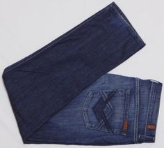 Mens-7-FOR-ALL-MANKIND-Jeans-36X33-Blue-SLOUCHY-Dark-Wash-BUTTON-FLY-Denim