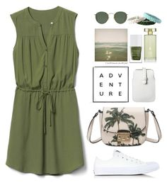"""Green Dress"" by gicreazioni ❤ liked on Polyvore featuring Gap, Converse, Polaroid, Mossimo, The Hand & Foot Spa, Estée Lauder and Ray-Ban"