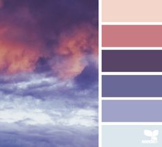 Design seeds color inspiration -- Sunset sky with purples and pinks.
