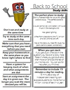 Study skills handout- Good to give parents on Back to School Night - I love the idea!