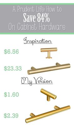 Don't blow your budget on cabinet hardware - you can get the look you want for MUCH less!