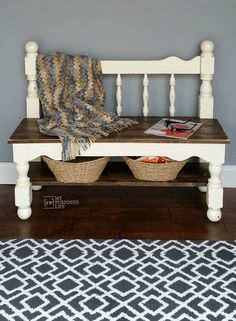 an old bunk bed gets a new life as a sweet little headboard bench with a storage shelf. I love the color combination of white and dark stain