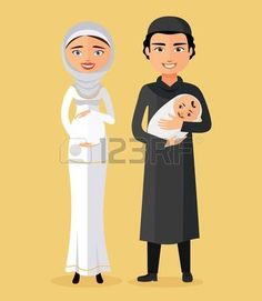 Muslim parents with a newborn baby happy flat cartoon vector illustration.  . Isolated on a white background Illustration