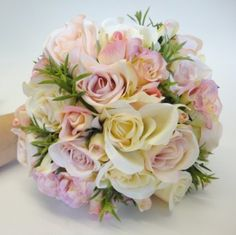 Pink Rose Vintage Style Silk Wedding Bouquet