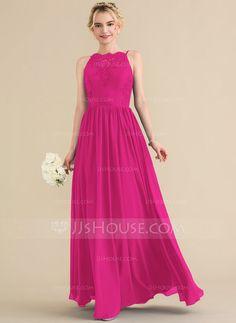 A-Line Princess Square Neckline Floor-Length Chiffon Lace Bridesmaid Dress 076131f2a