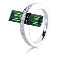 modern ring diamond emerald
