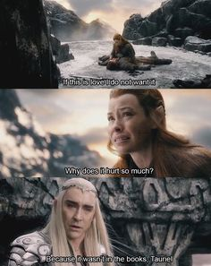 "I was expecting thranduil to say ""because its real"" but he made me laugh instead"