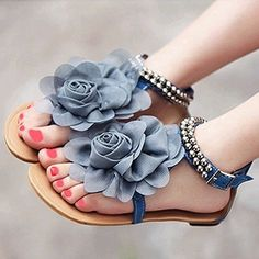 Bohemia 2014 Summer Fashion Sandals Female Beaded Flower FLat Flip-flop flats Women's Shoes casual shoes 3 colors Free shipping