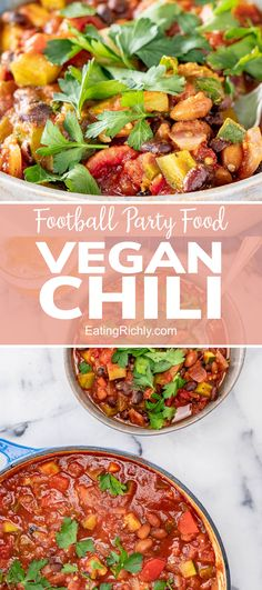 This vegan chili recipe is a whole foods plant based chili that is packed with vegetables but hearty enough for your Super Bowl Party food menu. #healthyfood #healthyrecipes #healthychili #chili #chilirecipe #instantpotchili #instantpotrecipes #zucchini #zucchinirecipes #beans #beanrecipes #dinner #dinnerrecipes #vegan #veganrecipes #instantpot #soups #souprecipes #healthydinners #seahawks #footballfood #footballparty #tailgating #superbowlfood #gamedayfood #footballpartyfood
