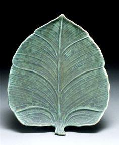 Leaf Plate richard vincent pottery slip design brush on leaf pattern pottery ceramics clay