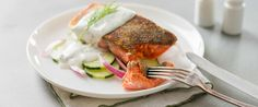 The perfect sous vide salmon, as well as recipes for Lemon-Dill Creme Fraiche and Chilled Cucumber Salad to go with it.