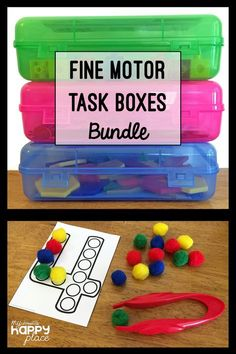 Perfect for morning tubs, early finishers, centers, or busy boxes, these fine motor activities target development of fine motor skills in young children. This bundle includes all of the Fine Motor Skills Task Boxes (with a total of 83 activities). Fine Motor Activities For Kids, Morning Activities, Motor Skills Activities, Gross Motor Skills, Classroom Activities, Preschool Activities, Physical Activities, Child Development Activities, Dementia Activities