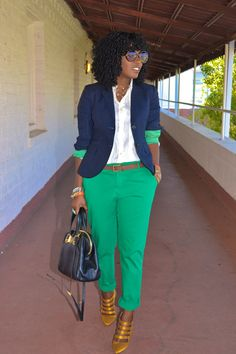 Discover this look wearing Navy Jcrew Blazers, Gold Jcrew Shoes, White Jcrew Shirts, Chartreuse Zara Pants - Pet Blazer by StylePantry styled for Business Casual, Everyday in the Spring Work Fashion, Fashion Looks, Fashion Outfits, Womens Fashion, Fashion Trends, Looks Plus Size, Look Plus, Mode Ab 50, Blazer For Boys