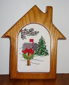 New Welcome Friends Framed Picture Winter Christmas Tree Finished Cross Stitch