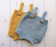Hækleopskrifter til baby Archives Crochet Baby Bloomers, Crochet Romper, Crochet Baby Cardigan, Crochet Bebe, Easy Crochet, Crochet Clothes, Free Crochet, Baby Knitting Patterns, Free Knitting