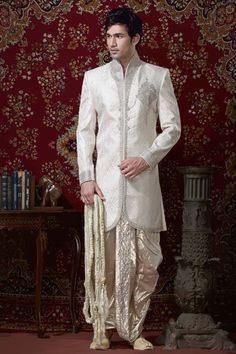Light Cream Banarasi Ghicha Silk Readymade Dhoti Kurta Online Shopping: MCD1482