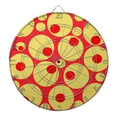 Let's play darts - Red and Gold Circles Dartboard $65.95 . can be customized as a special #gift  #redandyellow