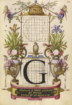 Joris Hoefnagel (illuminator)  [Flemish / Hungarian, 1542 - 1600],                              Guide for Constructing the Letter G,                              Flemish and Hungarian, about 1591 - 1596, Watercolors, gold and silver paint, and ink on parchment, Leaf