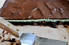 Crème de Menthe Brownies.  This is just another reason that I NEED a bottle of GREEN crème de menthe on our non existent Bar Cart!