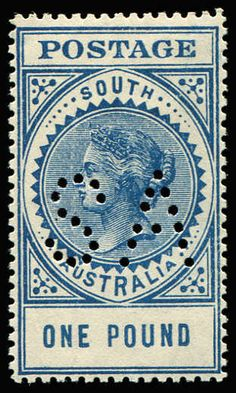 AUSTRALIAN COLONIES - SOUTH AUSTRALIA 1904-11 Thick 'POSTAGE' Wmk Crown/SA (Close) Perf 12 £1 blue P12½, perf 'SA', SG #292a variant, ACSC #S70 Cat $350 as normal, state perfins being much scarcer, fine mint.  Anbieter Phoenix Auctions  Saalauktion Ausruf: 300.00AUD