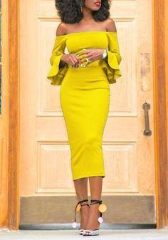 LoverMalls Yellow Bandeau Backless Off Shoulder Flare Sleeve Bodycon Party Maxi Dress Dress Up, Bodycon Dress, Sheath Dress, Vetement Fashion, Black Women Fashion, Classy Dress, Elegant Dresses, Dress Collection, African Fashion