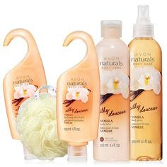 """www.youravon.com/tinishamcgee   Snuggle up with the comforting fragrance of silky vanilla, brown sugar crystals and a delicate sheer woods background. A $23 Value this set includes:Naturals Silky Vanilla Body Lotion 8.4 fl. oz.Naturals Silky Vanilla Body Spray8.4 fl. oz.2 Naturals Silky Vanilla Shower Gel5 fl. oz.Avon Shower Pouf 5"""" Diam."""