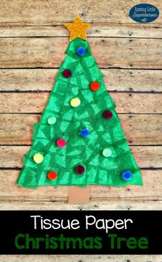 This Festive Tissue Paper Christmas Tree Craft is easy for children to create and a fun way to start decorating for the holidays.
