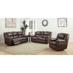 US Pride Furniture 3 Piece Oregon Recliner Sofa, Console Loveseat and Chair, Hot stamping Cloth Fabric, Brown