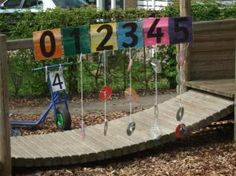 Put your CDs in amounts outside for counting and number recognition outside.