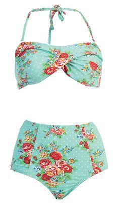 NEW Sexy Hot Floral Mint Marilyn Monroe Bandeau Halter Highwaisted Swimsuit B118 #MarinaWest #Bikini