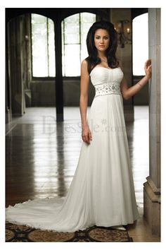 Empire Chiffon Hawaiian Wedding Dresses with Beaded Motif