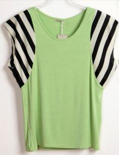 Striped Patchwork Batwing Crew Neck Green T Shirt