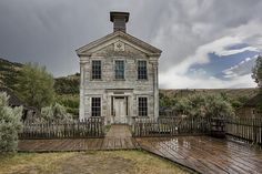 Old School House After Storm - Bannack Montana Poster by Daniel Hagerman. All posters are professionally printed, packaged, and shipped within 3 - 4 business days. Old Buildings, Abandoned Buildings, Abandoned Places, School's Out Forever, Old School House, School Days, Country School, Homestead House, Old Churches